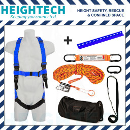 Roofer's Kit with Safety Harness, 15kN Roof Anchor and 25m Ropeline