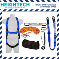 Roofer's Kit with Safety Harness, 15m Ropeline and Adjustable 2m Lanyard